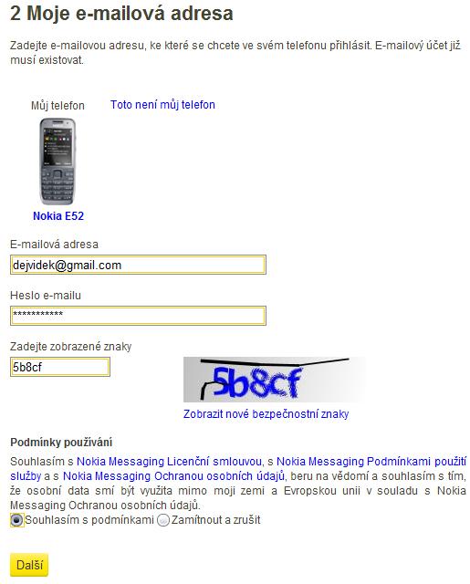 Zadejte svůj email a heslo k němu