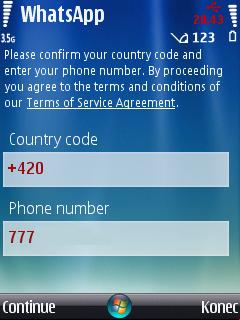 Vložení telefonního čísla