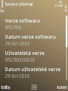 Nový firmware v telefonu