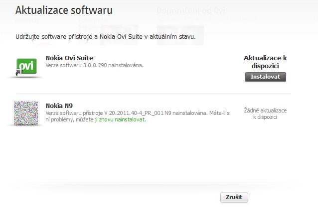 Aktualizace na Nokia Suite